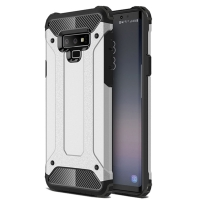 Hybrid Dual Layer Tough Armor Protective Case for Samsung Galaxy Note9 | Samsung Galaxy Note 9 (Silver)