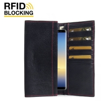 Continental Leather RFID Blocking Wallet Case for Samsung Galaxy Note9 | Samsung Galaxy Note 9  (Black Pebble Leather/Red Stitch)
