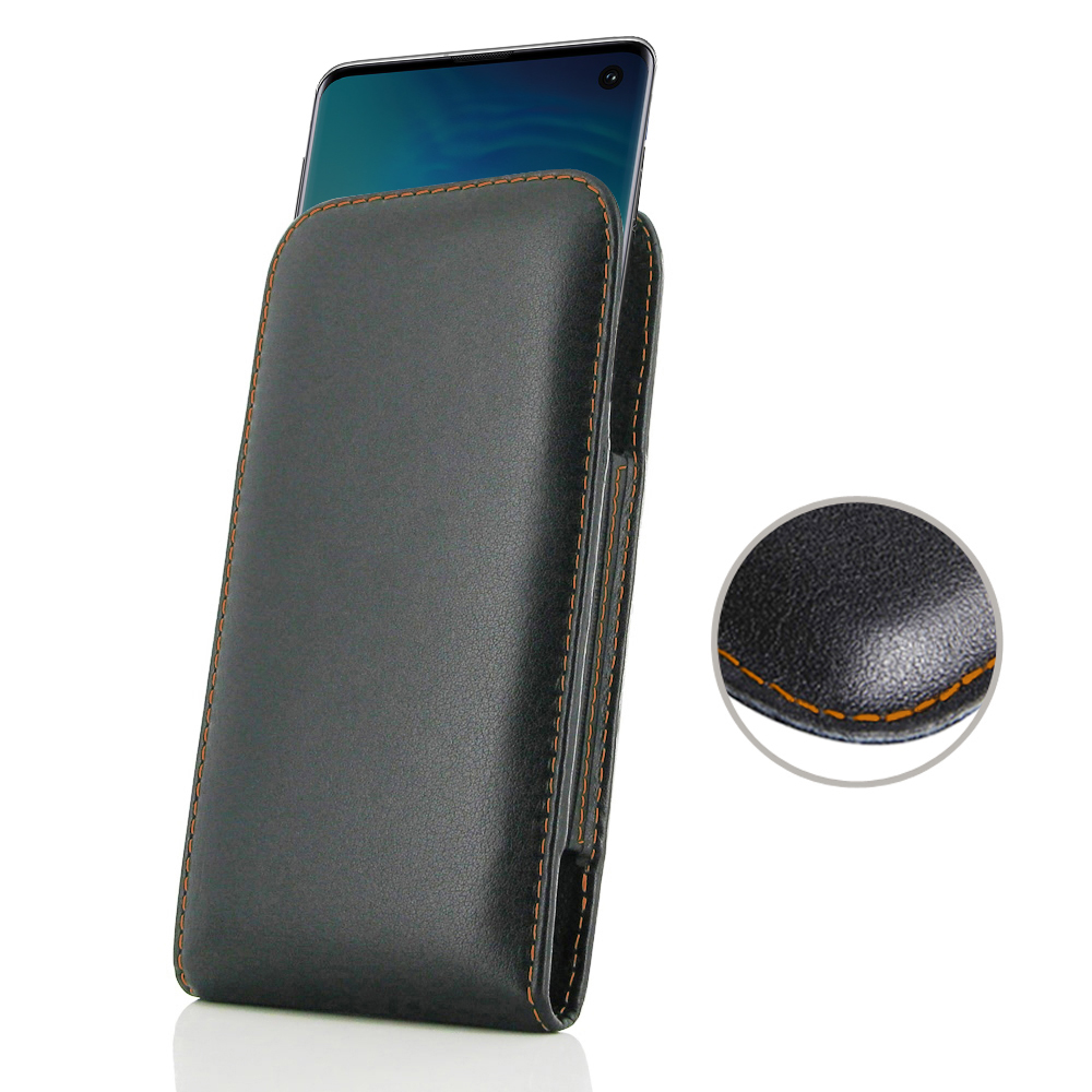 10% OFF + FREE SHIPPING, Buy the BEST PDair Handcrafted Premium Protective Carrying Samsung Galaxy S10 Leather Sleeve Pouch Case (Orange Stitch). Exquisitely designed engineered for Samsung Galaxy S10.