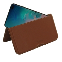 Leather Wallet Pouch for Samsung Galaxy S10 Plus | S10+ ( Compatible with 1.0 mm Slim Case / Cover on ) (Brown)