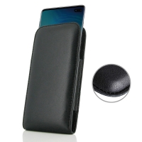 Leather Vertical Pouch Case for Samsung Galaxy S10 Plus | S10+ (Black Stitch)