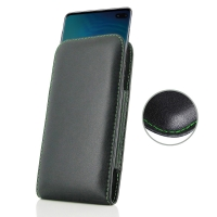 Leather Vertical Pouch Case for Samsung Galaxy S10 Plus | S10+ (Green Stitch)