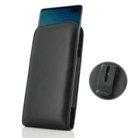 Leather Vertical Pouch Belt Clip Case for Samsung Galaxy S10 Plus | S10+ (Black Stitch)