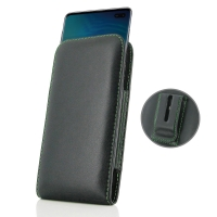 Leather Vertical Pouch Belt Clip Case for Samsung Galaxy S10 Plus | S10+ (Green Stitch)