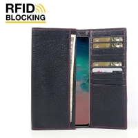 Continental Leather RFID Blocking Wallet Case for Samsung Galaxy S10 Plus | S10+ (Black Pebble Leather/Red Stitch)