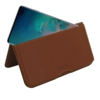 Leather Wallet Pouch for Samsung Galaxy S10 Plus | S10+ (Brown)