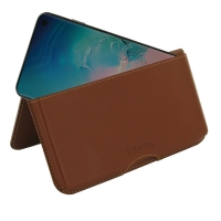 Leather Wallet Pouch for Samsung Galaxy S10e ( Compatible with 1.0 mm Slim Case / Cover on ) (Brown)