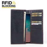 Continental Leather RFID Blocking Wallet Case for Samsung Galaxy S10e (Black Pebble Leather/Red Stitch)