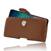 Leather Horizontal Pouch Case with Belt Clip for Samsung Galaxy S10e (Brown)