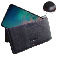 Leather Wallet Pouch for Samsung Galaxy S10e (Red Stitch)