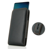 Leather Vertical Pouch Belt Clip Case for Samsung Galaxy S10e (Orange Stitch)