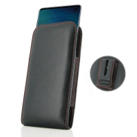 Leather Vertical Pouch Belt Clip Case for Samsung Galaxy S10e (Red Stitch)