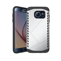 Hybrid Combo Aegis Armor Case Cover for Samsung Galaxy S6 (Silver)