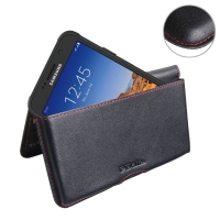 Leather Wallet Pouch for Samsung Galaxy S7 active (Red Stitch)