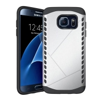 Hybrid Combo Aegis Armor Case Cover for Samsung Galaxy S7 edge (Silver) :: PDair