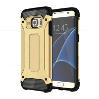 Hybrid Dual Layer Tough Armor Protective Case for Samsung Galaxy S7 edge (Gold)