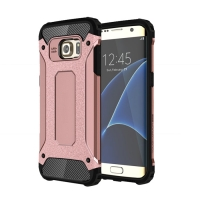 Hybrid Dual Layer Tough Armor Protective Case for Samsung Galaxy S7 edge (Rose Gold)