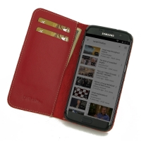Samsung Galaxy S7 edge Leather Smart Flip Wallet Case (Red) PDair Premium Hadmade Genuine Leather Protective Case Sleeve Wallet