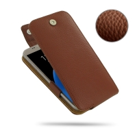 10% OFF + FREE SHIPPING, Buy PDair Quality Handmade Protective Samsung Galaxy S7 Genuine Leather Flip Top Case (Brown Pebble Genuine Leather) online You also can go to the customizer to create your own stylish leather case if looking for additional colors