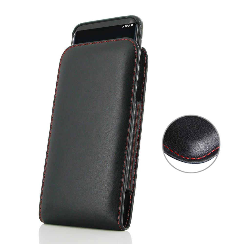 Leather Vertical Pouch Case for Samsung Galaxy S8 (in Slim Case/Cover) (Red Stitch)