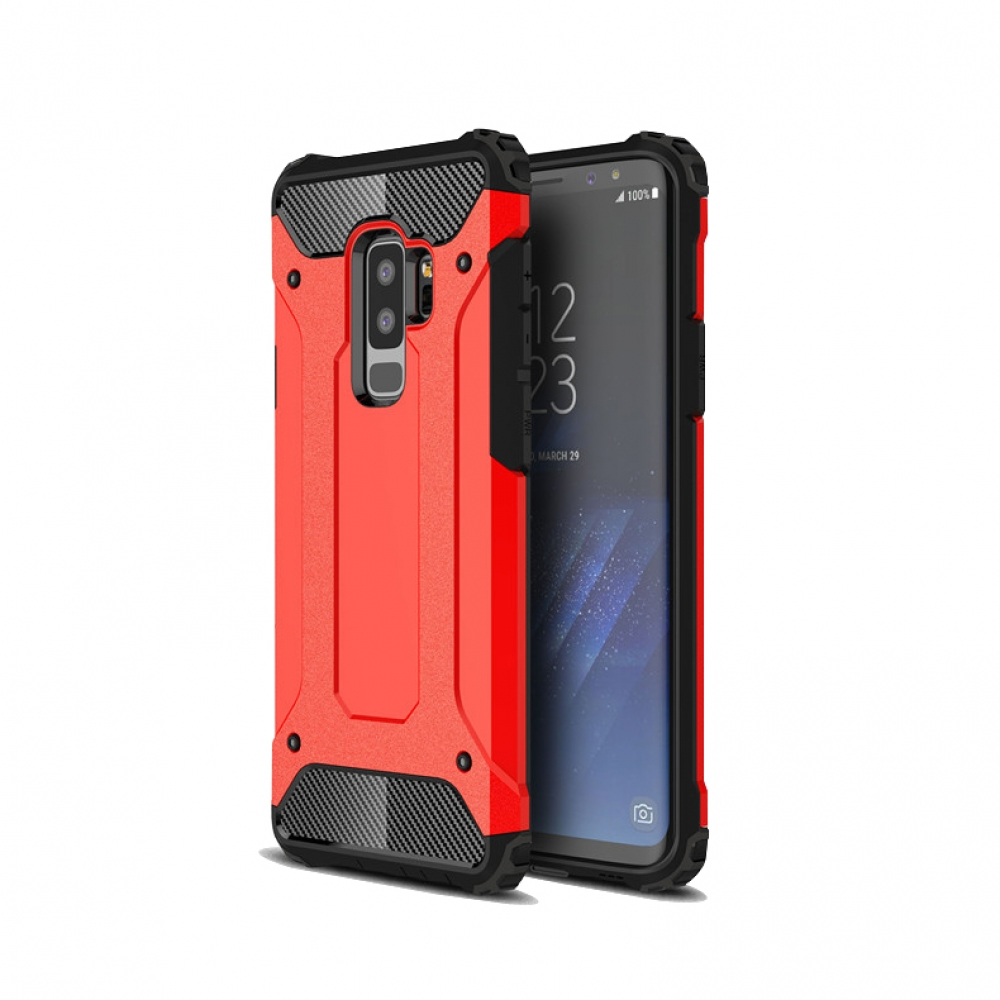 Hybrid Dual Layer Tough Armor Protective Case for Samsung Galaxy S9  (Red)