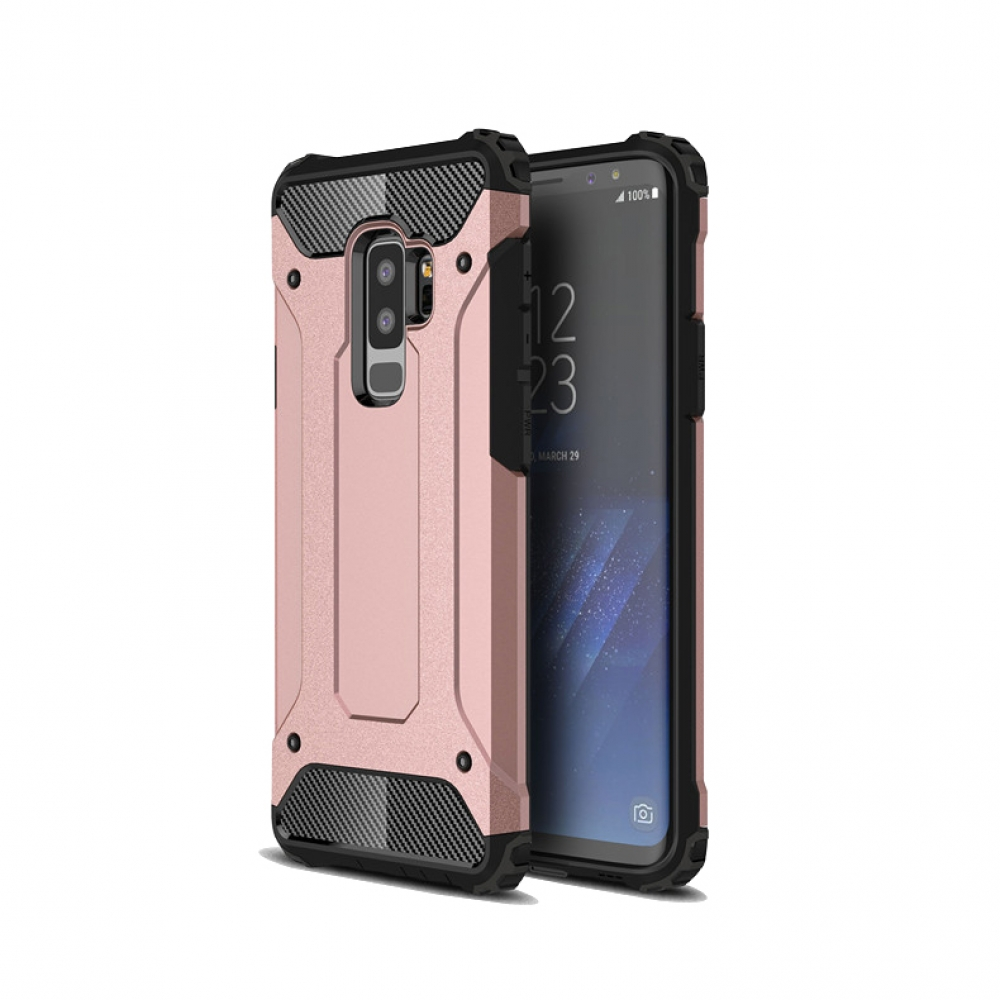 Hybrid Dual Layer Tough Armor Protective Case for Samsung Galaxy S9  (Rose Gold)