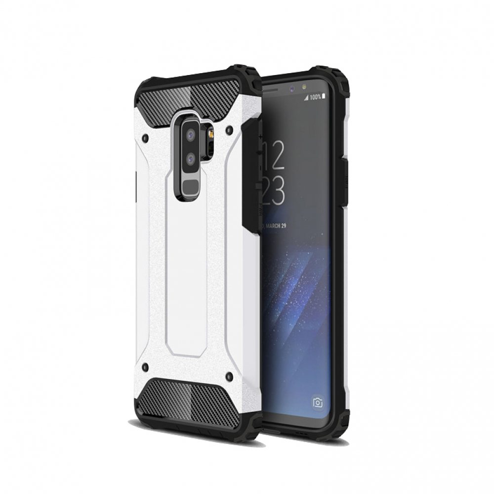 Hybrid Dual Layer Tough Armor Protective Case for Samsung Galaxy S9  (White)