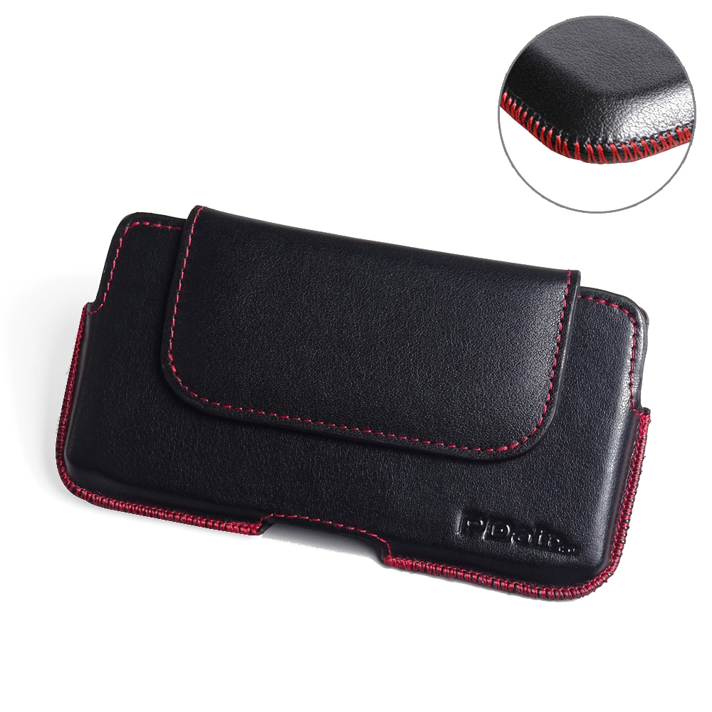 Luxury Leather Holster Pouch Case for Samsung Galaxy S9 (Red Stitch)