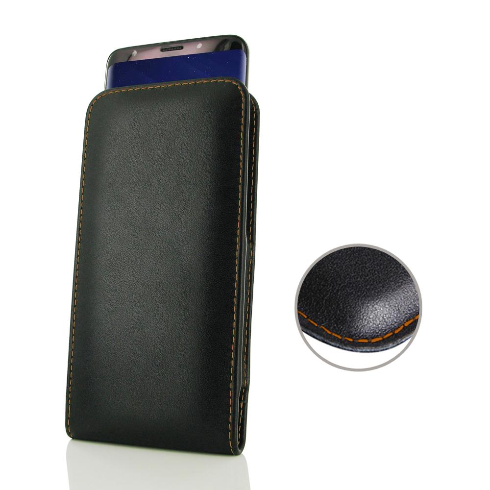Leather Vertical Pouch Case for Samsung Galaxy S9 Plus | S9+ (Orange Stitch)