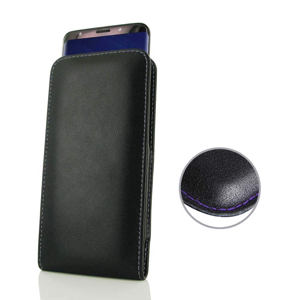 Leather Vertical Pouch Case for Samsung Galaxy S9 Plus | S9+ (Purple Stitch)