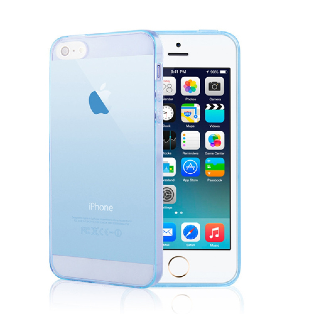iPhone 6s 6 Plus SE 5s 5 Ultra Thin Soft Clear Case Back Cover (Blue)  Iphone