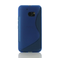 HTC 10 Soft Case (Blue S Shape pattern) PDair Premium Hadmade Genuine Leather Protective Case Sleeve Wallet