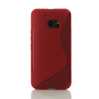 HTC 10 Soft Case (Red S Shape pattern) PDair Premium Hadmade Genuine Leather Protective Case Sleeve Wallet