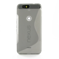 Nexus 6P Soft Case (Grey S Shape pattern) PDair Premium Hadmade Genuine Leather Protective Case Sleeve Wallet