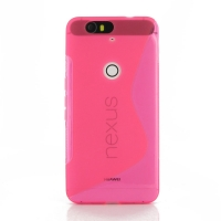 Nexus 6P Soft Case (Pink S Shape pattern) PDair Premium Hadmade Genuine Leather Protective Case Sleeve Wallet