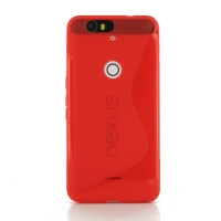 Nexus 6P Soft Case (Red S Shape pattern) PDair Premium Hadmade Genuine Leather Protective Case Sleeve Wallet