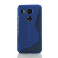 Soft Plastic Case for LG Google Nexus 5X (Blue S Shape pattern)