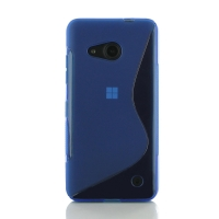 Microsoft Lumia 550 Soft Case (Blue S Shape pattern) PDair Premium Hadmade Genuine Leather Protective Case Sleeve Wallet