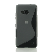Microsoft Lumia 550 Soft Case (Grey S Shape pattern) PDair Premium Hadmade Genuine Leather Protective Case Sleeve Wallet
