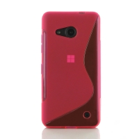 Microsoft Lumia 550 Soft Case (Pink S Shape pattern) PDair Premium Hadmade Genuine Leather Protective Case Sleeve Wallet