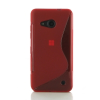 Microsoft Lumia 550 Soft Case (Red S Shape pattern) PDair Premium Hadmade Genuine Leather Protective Case Sleeve Wallet