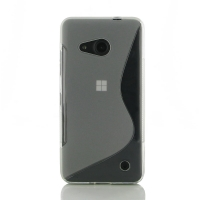 Microsoft Lumia 550 Soft Case (Translucent S Shape pattern) PDair Premium Hadmade Genuine Leather Protective Case Sleeve Wallet
