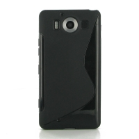 Soft Plastic Case for Microsoft Lumia 950 (Black S Shape pattern)
