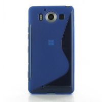 Soft Plastic Case for Microsoft Lumia 950 (Blue S Shape pattern)