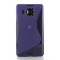 Microsoft Lumia 950 XL Soft Case (Purple S Shape pattern) PDair Premium Hadmade Genuine Leather Protective Case Sleeve Wallet