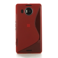 Microsoft Lumia 950 XL Soft Case (Red S Shape pattern) PDair Premium Hadmade Genuine Leather Protective Case Sleeve Wallet