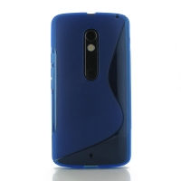 Soft Plastic Case for Motorola Moto X Play (Blue S Shape pattern)