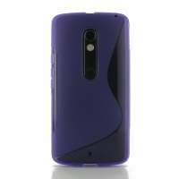 Soft Plastic Case for Motorola Moto X Play (Purple S Shape pattern)