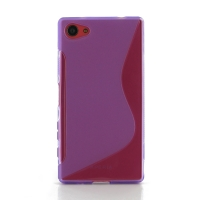 Soft Plastic Case for Sony Xperia Z5 Compact (Purple S Shape pattern)