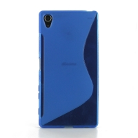 Soft Plastic Case for Sony Xperia Z5 Premium (Blue S Shape pattern)